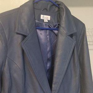 Dusty blue leather jacket